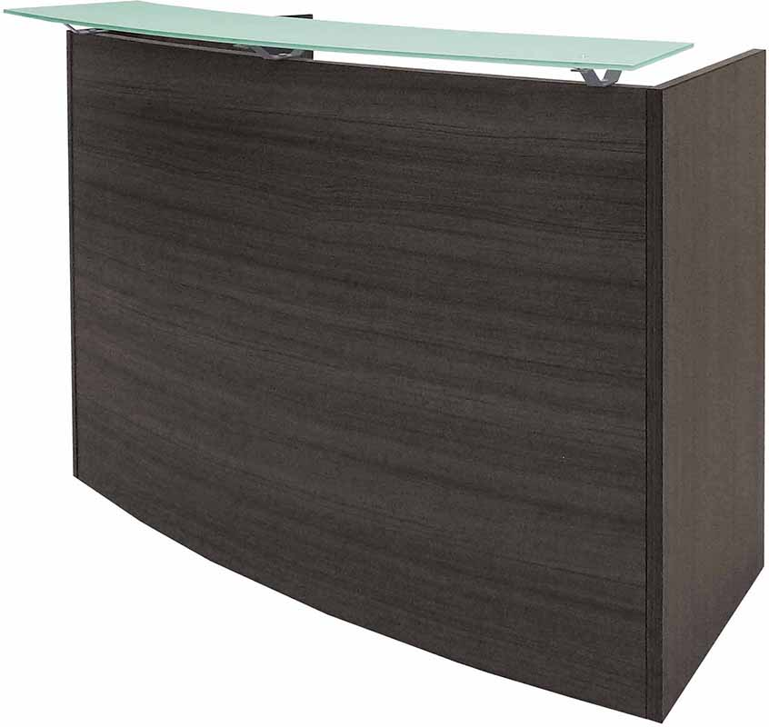 """Curved Charcoal Glass Top Reception Desk - 60"""" Wide"""