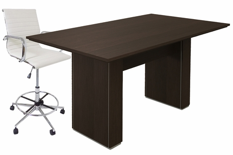 Custom Standing Height Rectangular Conference Table w/ Cable Channel Bases - 72