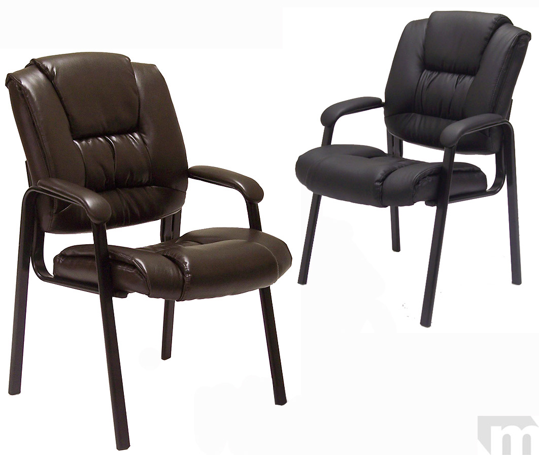 Deep Cushion Leather Guest Chairs in Brown or Black