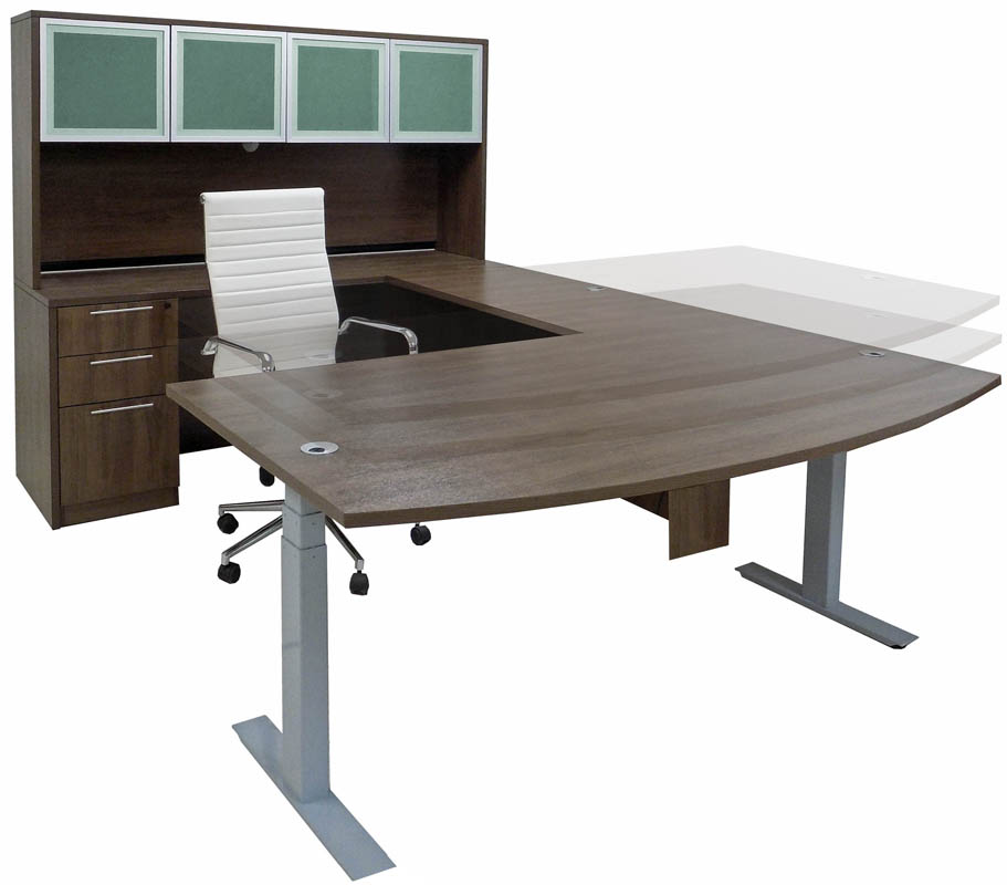 Electric Lift Adjustable Height Modern Walnut U-Desk w/Hutch