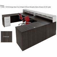 Emerge Glass Top 2-Person Reception Desk w/Drawers & LED Lights - 132