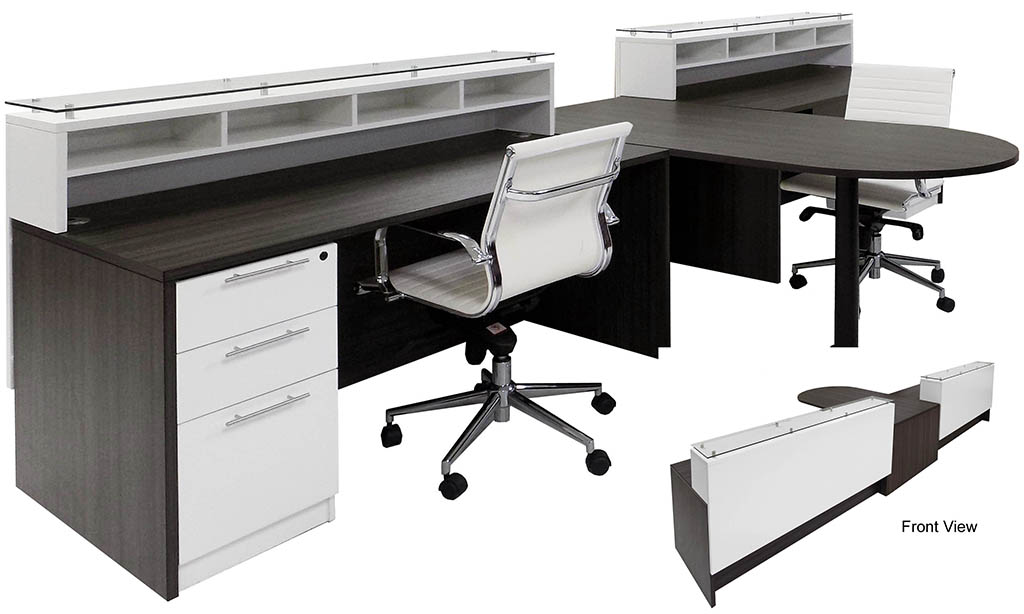 Emerge Glass Top 2-Person Shared Peninsula Reception Desk w/Drawers & LED  Lights