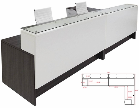 Emerge Glass Top L-Shaped 2-Person Reception Desk w/Drawers & LED Lights - 132