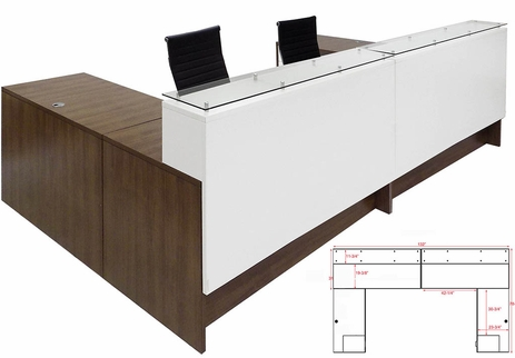 Emerge Glass Top U-Shaped 2-Person Reception Desk w/Drawers & LED Lights - 132