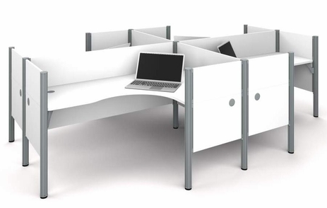 Enclosed Quad L-Shaped Workstation