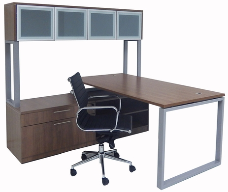 Executive Storage L-Desk w/Glass Door Hutch