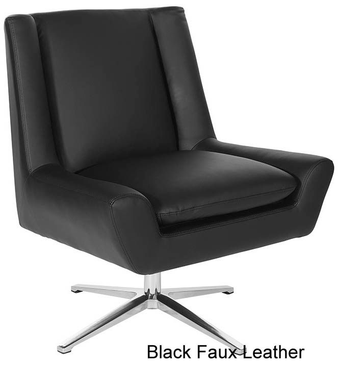 Mid Century Modern Faux Leather Swivel Armless Lounge Chair