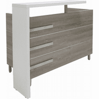 Gray Oak and White Cap Reception Desk - 55