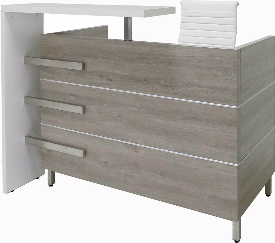 "Gray Oak and White Cap Reception Desk - 55"" Wide.  See larger size below."