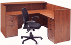 L-Shaped Cherry Laminate Reception Desk w/Drawers
