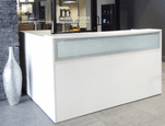 L-Shaped White Reception Desk w/Frosted Glass Panel