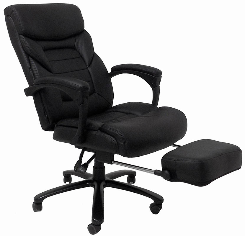 Leather Heavyweight Office Recliner w/Footrest - 350 Lbs. Capacity