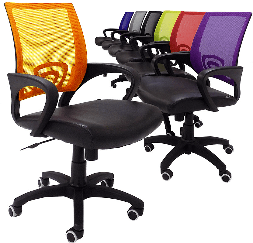 Leather & Mesh Color Burst Office Chairs