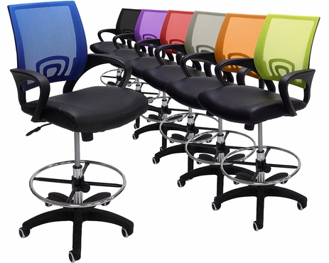 Leather & Mesh Color Burst Office Stool w/21