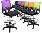 """Leather & Mesh Color Burst Office Stool w/26""""-30"""" Seat Height"""