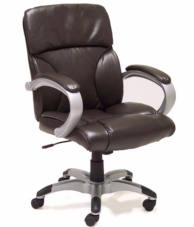 Leather Pillow Cushion Office Chair in Brown