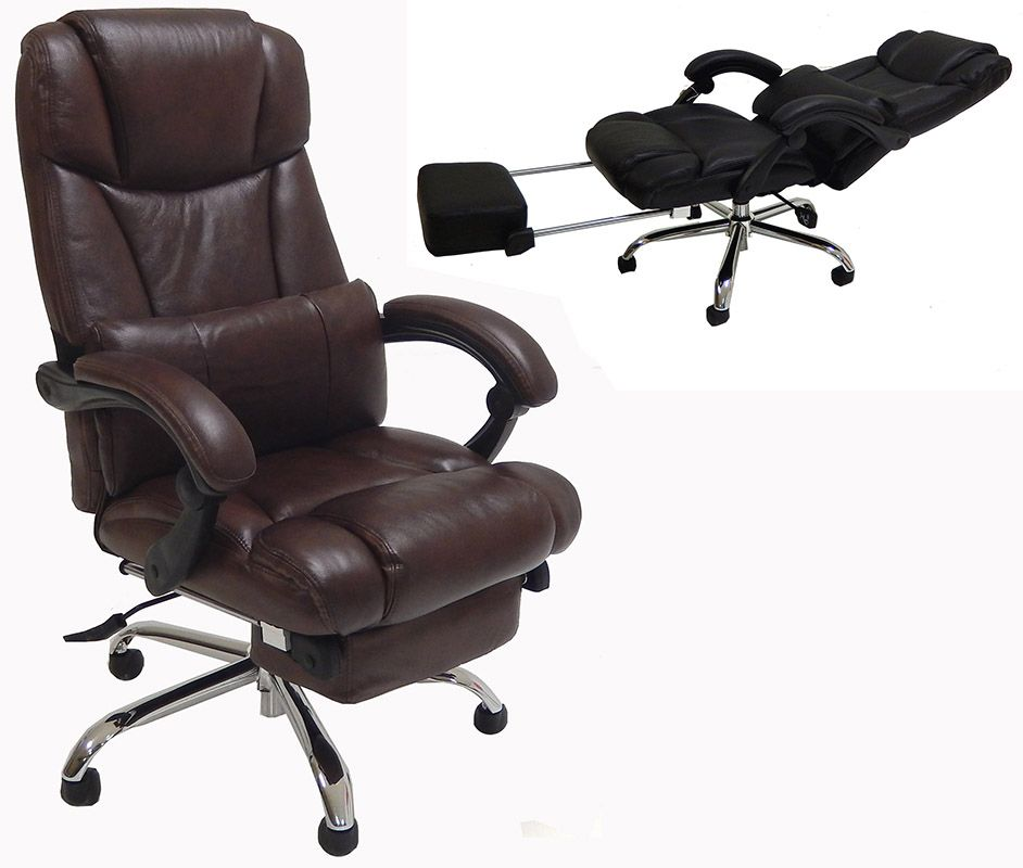 Admirable Leather Reclining Office Chair W Footrest Home Interior And Landscaping Palasignezvosmurscom