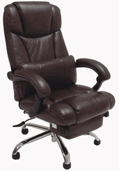 Leather Reclining Office Chair w/ Footrest