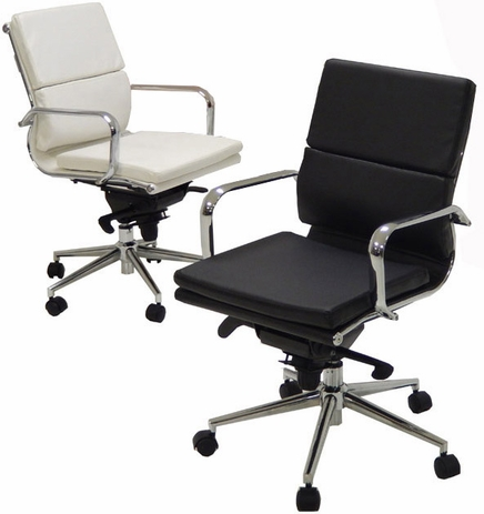Leather Soft Pad Low Back Chair