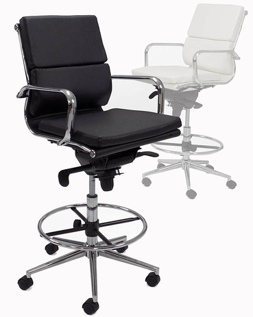Leather Soft Pad Office Stool w/27-1/2