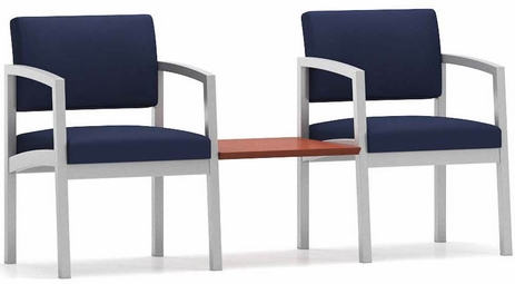 Lenox Steel 2-Chairs w/Connecting Table in Standard Fabric/Vinyl