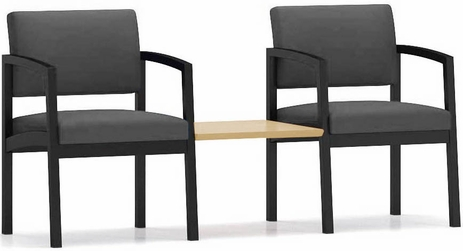 Lenox Steel 2-Chairs w/Connecting Table in Upgrade Fabric/Vinyl