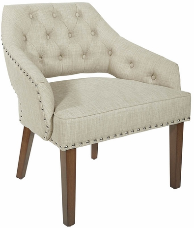 Linen Button-Tufted Mid Century Arm Chair