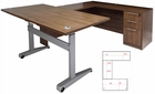 Pneumatic Lift Height Adjustable Managers U-Desk  in Modern Walnut
