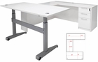 Pneumatic Lift Height Adjustable Managers U-Desk  in White
