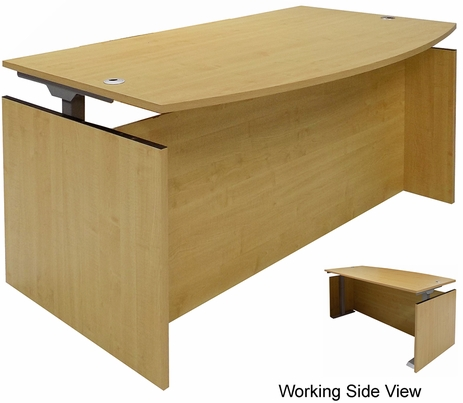 Maple Adjustable Height Bow Front Desk