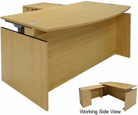 Maple Adjustable Height Bow Front L-Shaped Desk