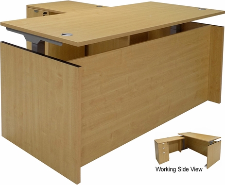 Maple Adjustable Height Manager's L-Shaped Desk