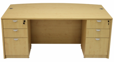 Maple Bow Front Conference Desk w/6 Drawers