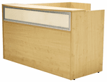 Maple L-Shaped Reception Desk w/Frosted Glass Panel