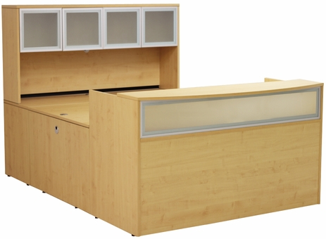 Maple U-Shaped Reception Desk w/Frosted Glass Panel & Hutch