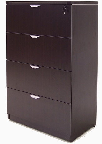 Mocha 4-Drawer Lateral File