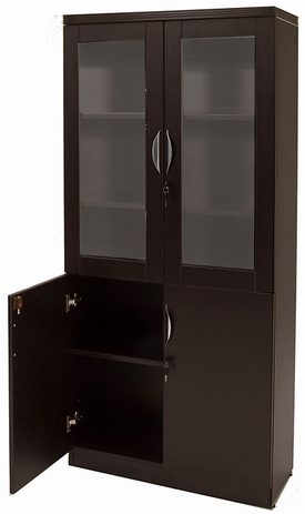 Mocha Glass Door Wall Unit