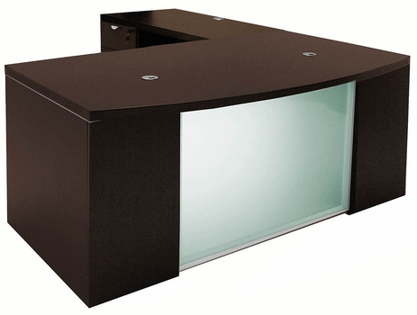 Mocha Glass Front  Conference L-Shaped Desk
