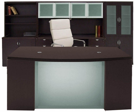 Mocha Glass Front  Office Furniture 6-Piece Suite