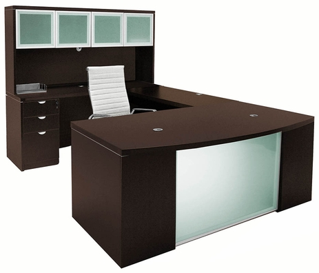 Mocha Glass Front  U-Shaped Workstation w/Hutch