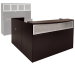 Mocha L-Shaped Reception Desk w/Frosted Glass Panel