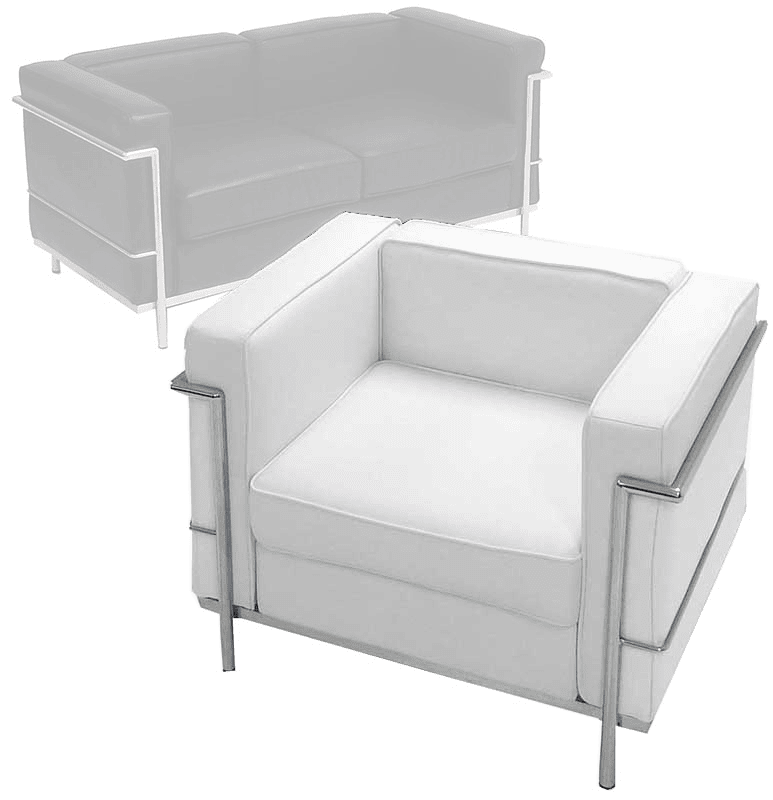 Sensational Modern Classic Leather Reception Seating In White Or Black Chair Caraccident5 Cool Chair Designs And Ideas Caraccident5Info