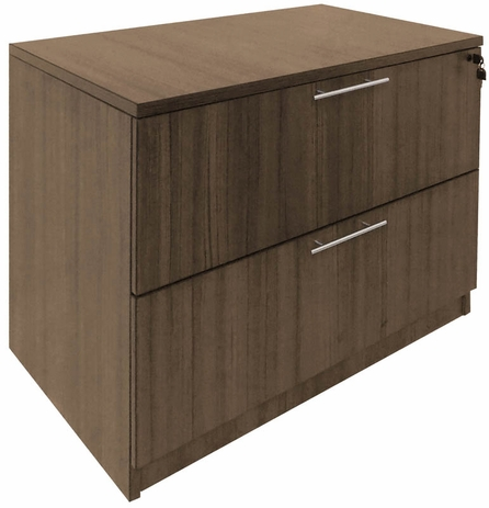 Modern Walnut 2-Drawer Lateral File