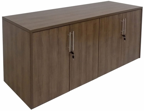 Modern Walnut 4-Door Locking Storage Credenza