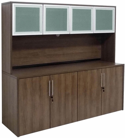 Modern Walnut 4-Door Storage Credenza w/Hutch