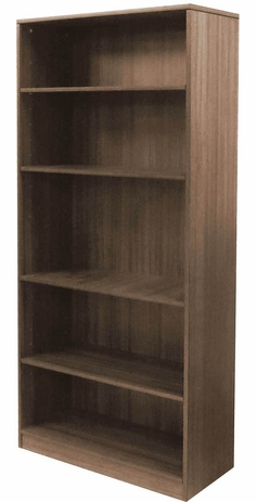 Modern Walnut 5-Shelf Office Bookcase