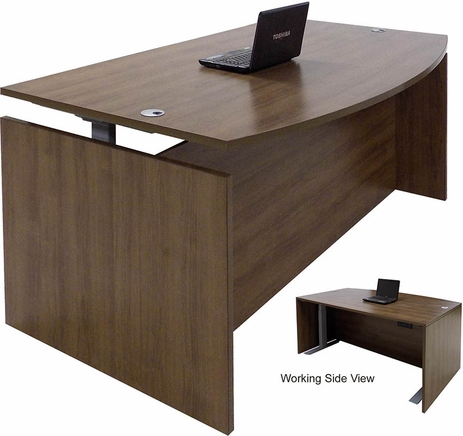 Modern Walnut Adjustable Height Bow Front Desk