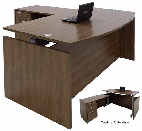 Modern Walnut Adjustable Height Bow Front L-Shaped Desk