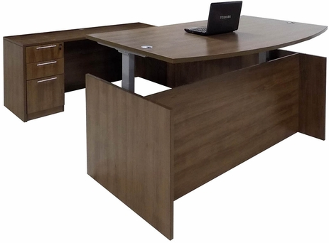 Modern Walnut Adjustable Height Bow Front U-Shaped Desk
