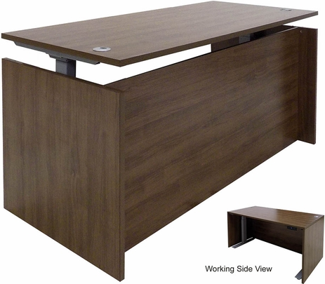 Modern Walnut Adjustable Height Manager's Desk